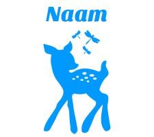 Blauwe raamsticker met bambi