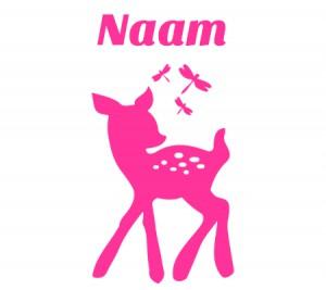 Roze raamsticker met bambi