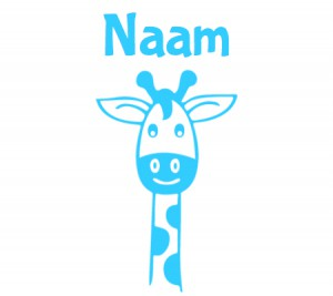 babyblauwe raamsticker met giraffennek