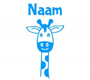 blauwe raamsticker met giraffennek