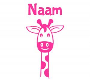 roze raamsticker met giraffennek