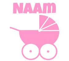 babyroze raamsticker met kinderwagen