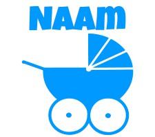 blauwe raamsticker met kinderwagen
