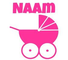 roze raamsticker met kinderwagen