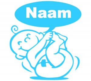 babyblauwe raamsticker met baby