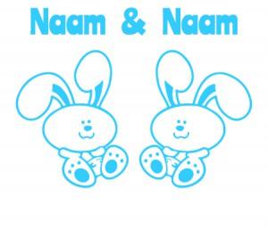 babyblauwe raamsticker met konijntjes