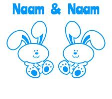 blauwe raamsticker met konijntjes