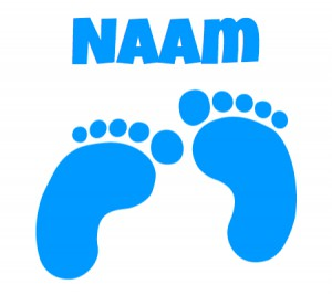 blauwe raamsticker met voetjes