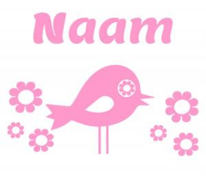 roze raamsticker met vogel