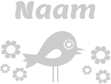 Geboorte raamsticker met Vogel