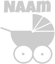 Geboorte raamsticker met Kinderwagen